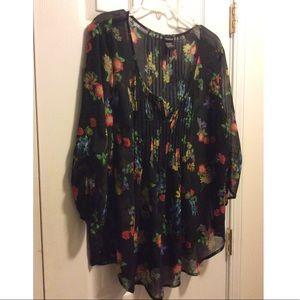 Torrid Floral Sheer Blouse Size 1